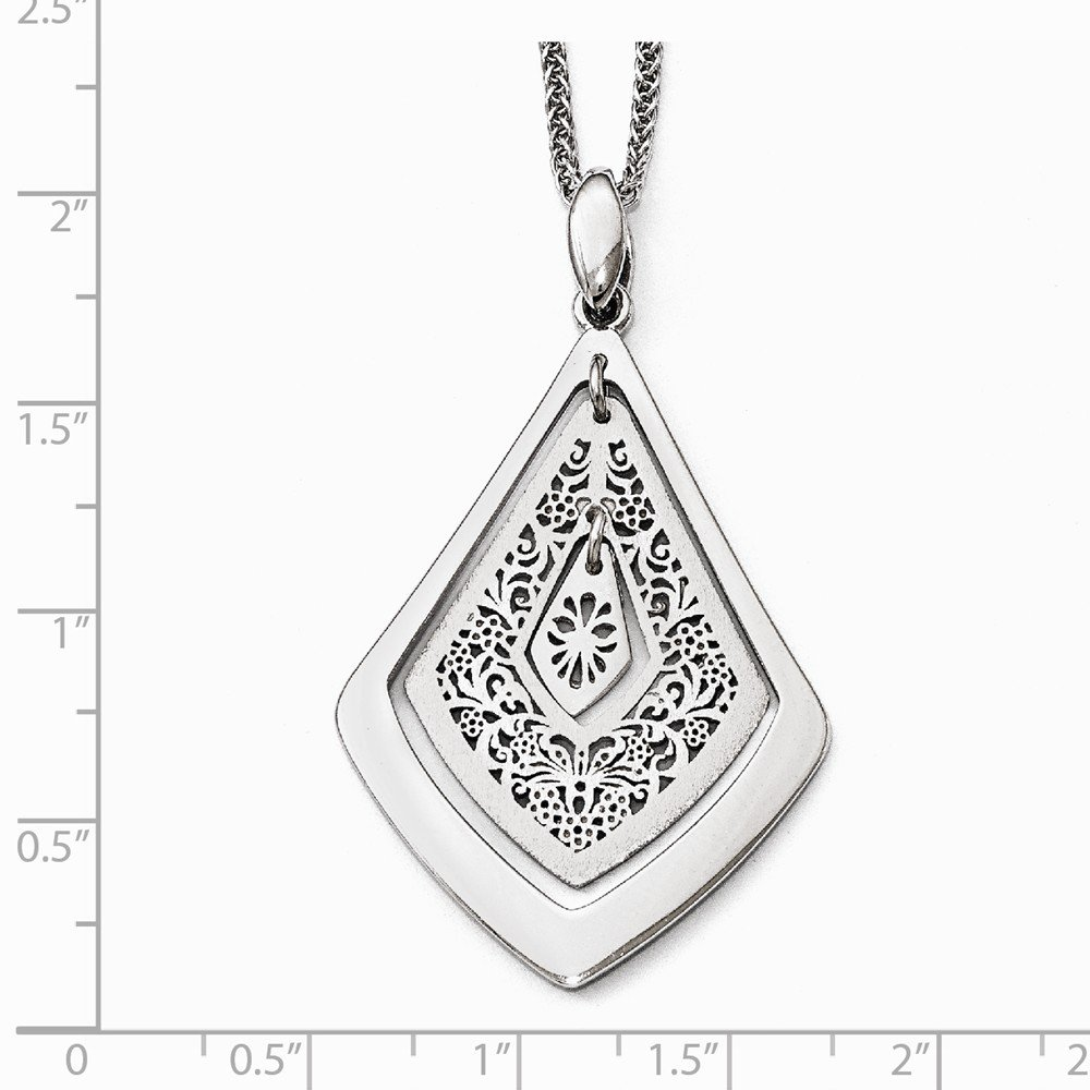 Sterling Silver Leslies Polished Scratch-finsh Filigree Pendant Solid Pendants /& Charms Jewelry