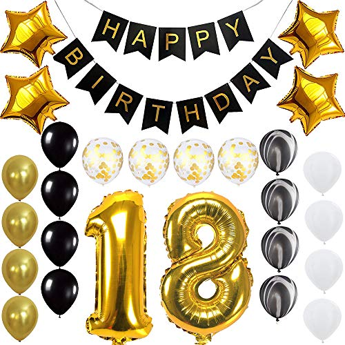 Happy 18th Birthday Banner Balloons Set for 18 Years Old Birthday Party Decoration Supplies Gold Black