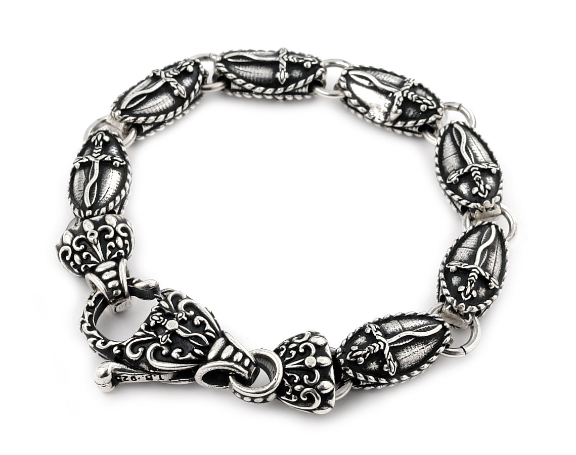 Twisted Blade 925 Sterling Silver Large Oval Dagger With Fancy Clasp Bracelet 8''