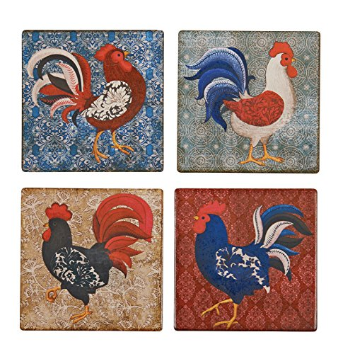 Boston Warehouse Tuscan Country Damask Rooster Coasters, Set of 4