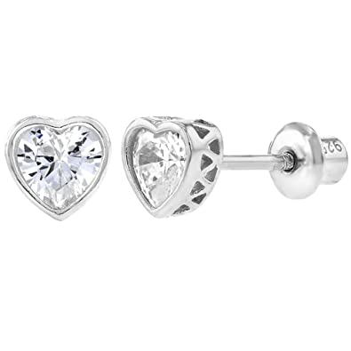 93606e5d9 925 Sterling Silver Clear CZ Small Heart Screw Back Earrings Baby Girl  Kids: Amazon.co.uk: Jewellery