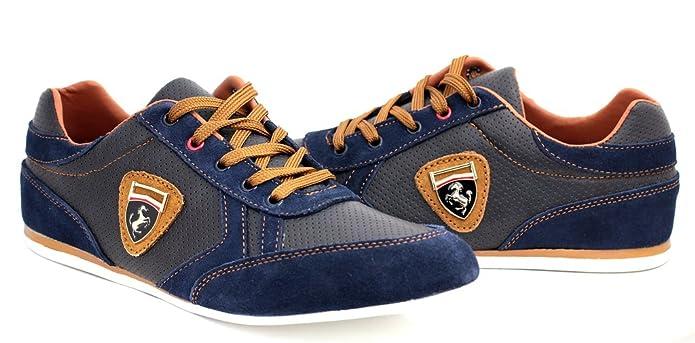 Zapatillas Informales Para Hombre De Piel Con Cordones Vestido Inteligentes zapatos núm. RU - Negro/Marrón, 11 UK / 45 EU