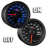 """MaxTow Double Vision 60 PSI Turbo Boost Gauge Kit - Includes Electronic Pressure Sensor - Black Gauge Face - Blue LED Illuminated Dial - Analog & Digital Readouts - for Diesel Trucks - 2-1/16"""" 52mm"""