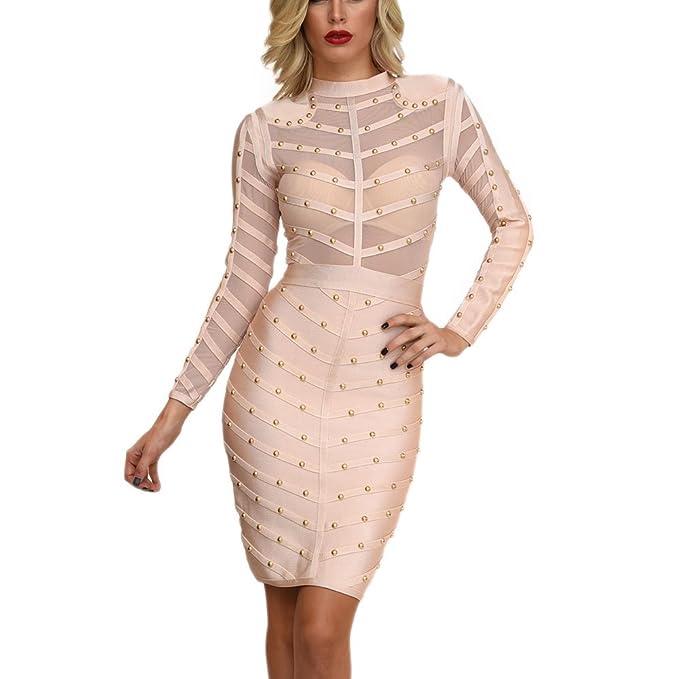 HLBandage Long Sleeve Mesh Beaded Knee Length Rayon Bandage Dress(XS,Beige)