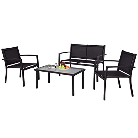 TANGKULA Patio Furniture Set 4 PCS Black with 2 Chairs, Tempered Glass  Coffee Table & - Amazon.com: TANGKULA Patio Furniture Set 4 PCS Black With 2 Chairs