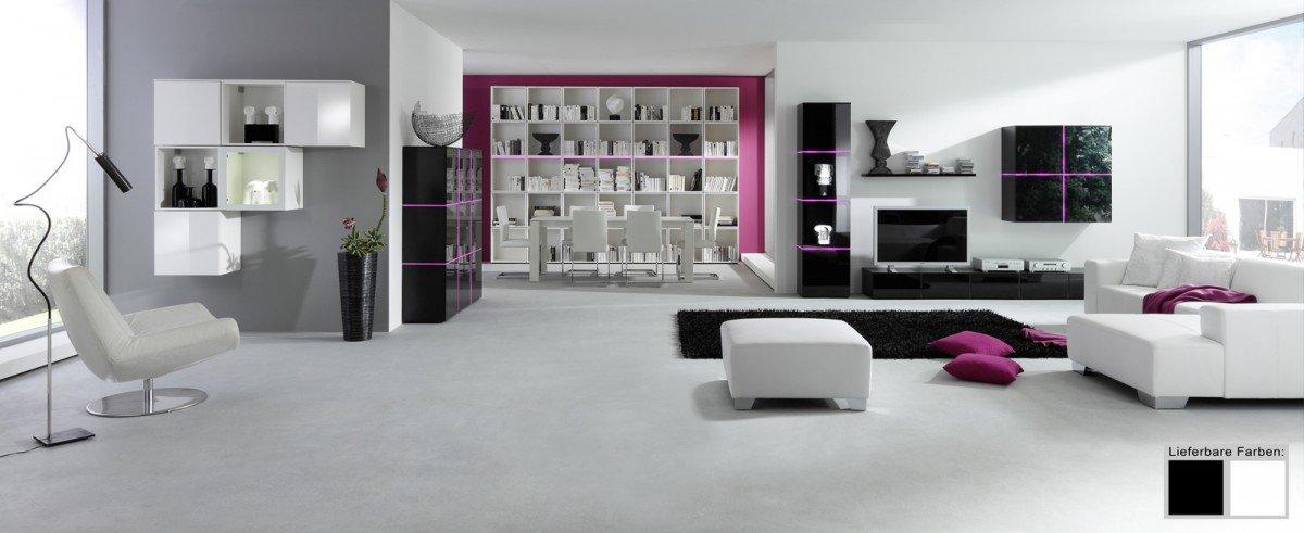 Dreams4Home Vitrine Square Wohnzimmer Regal Schrank Glasvitrine weiß ...