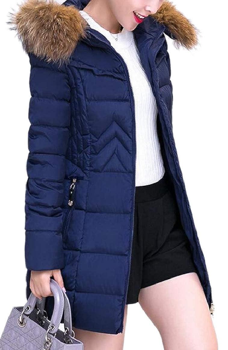 Navy bluee RGCA Women Full Zip Winter Pure color Fur Collar Puffer Padded Down Coats