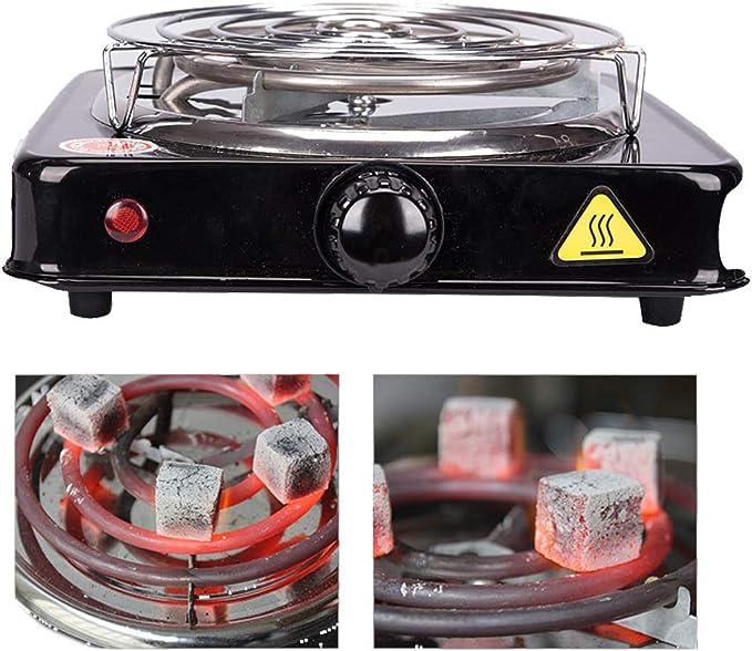 Kertou Cocina eléctrica para Shisha cachimba Hookah, Hornillo eléctrico para carbón Camping para cocinar carbón 1000W (Negro)