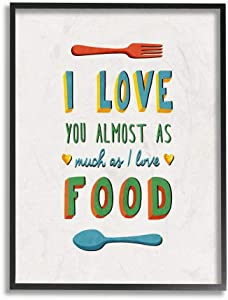 Stupell Industries I Love Food Funny Colorful Word, Design by Artist Ester Kay Wall Art, 24x30, Black Framed