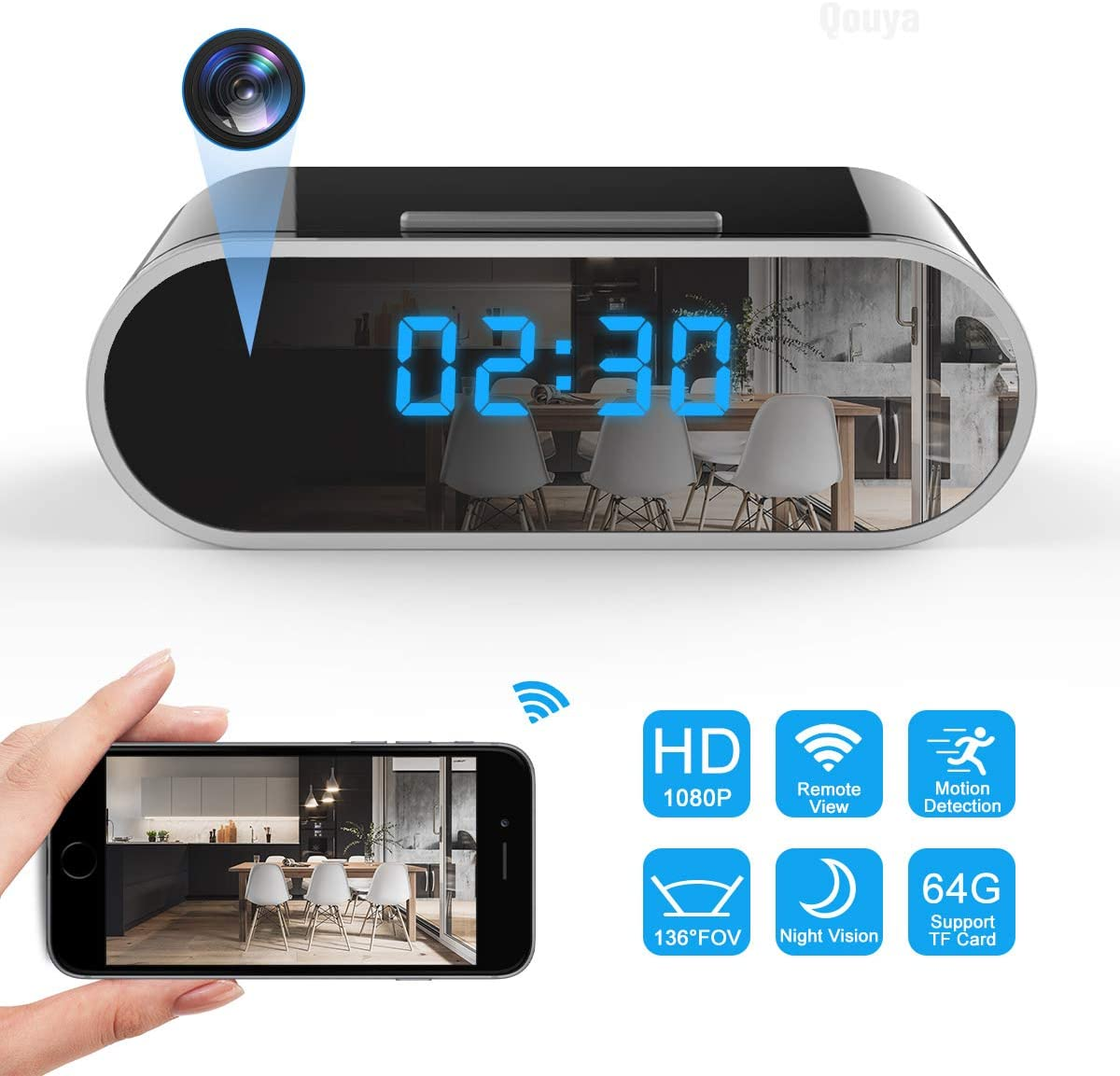 Spy Camera Wireless Hidden Camera WiFi Camera 1080P HD Hidden Clock Camera Small Nanny Cam Indoor Home Security Camera 136 Degrees Wide Angle Spy Cam with Night Vision Motion Detection Remote Viewing