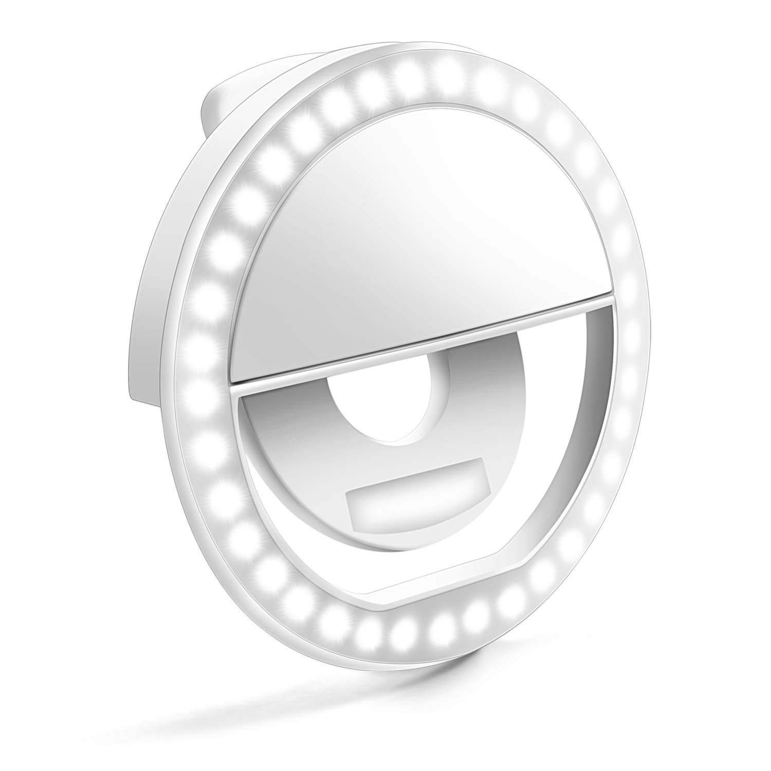 Selfie Ring Light, Enlody Dimmable Clip Ring Lighting - Rechargeable 36 LED Bulbs Light for iPhone, Android, Tablet, iPad, Laptop, Camera (White)