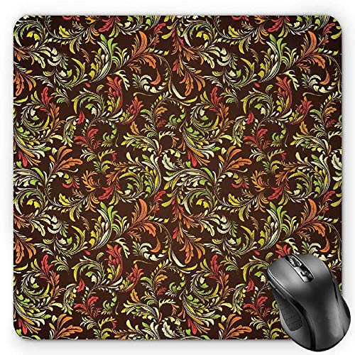 - BGLKCS Earth Tones Mouse Pad, Antique Scroll Pattern with Royal Theme and Classical Details Curly Leaf Motifs, Standard Size Rectangle Non-Slip Rubber Mousepad, Multicolor