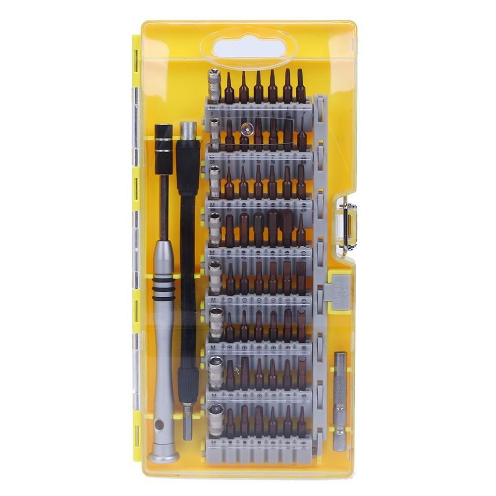 Alloet 60in1 Screwdriver Disassemble Tool Set Mobile Phone Car Repair Tools (yellow)