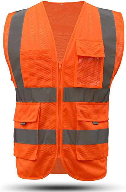 Dib Safety Vest Reflective High Visibility ANSI Reflective Vest with Pockets and Zipper Construction Work Vest Men and Women 2XL