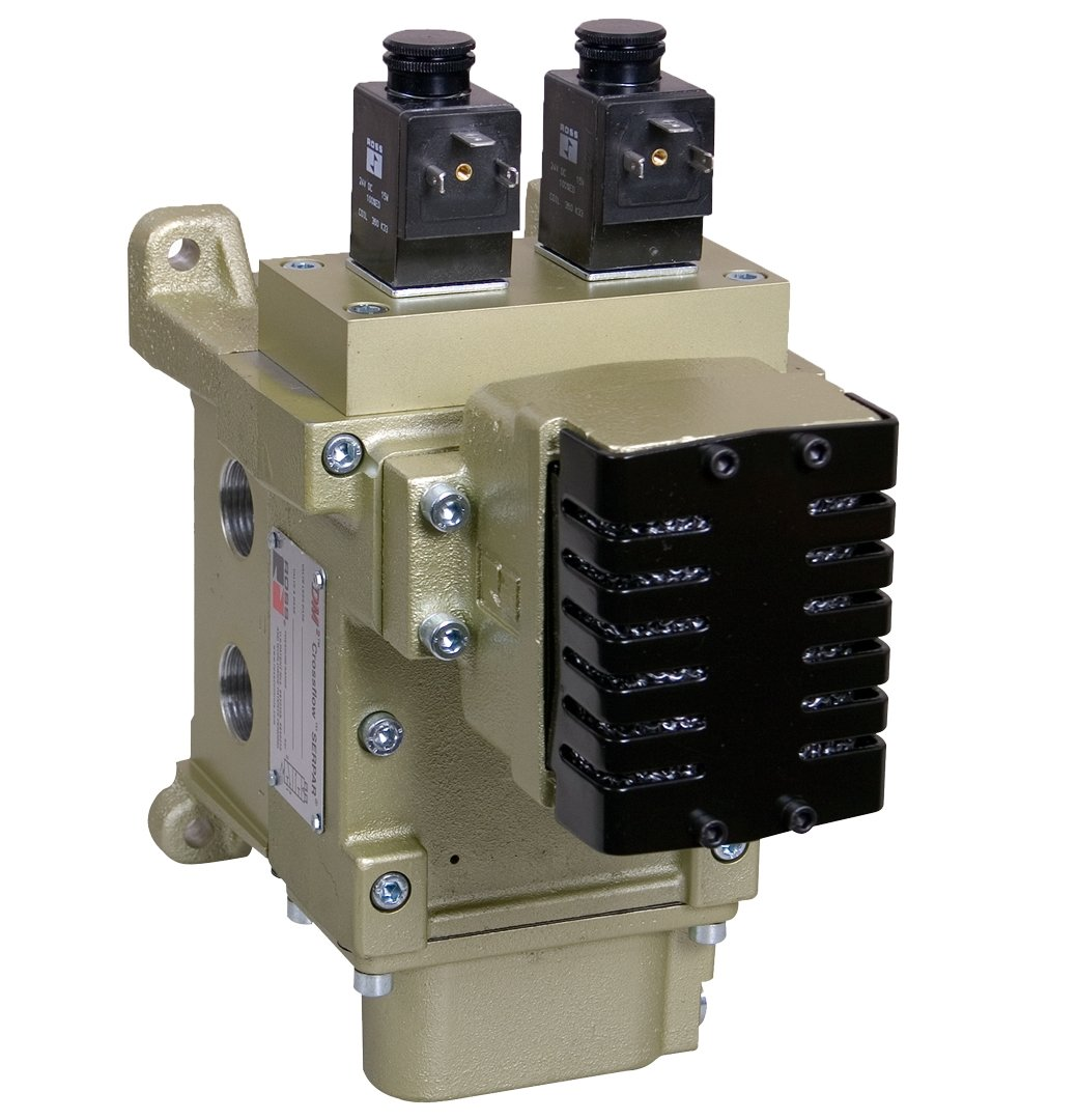 1//2 Exhaust Ross Controls DM2DDA42B21 DM2D Series Solenoid Controlled Valve 1//2 IN-OUT Ports Solenoid Reset IN-OUT 1//2 Exhaust 1//2 Ports Ports Status Indicator Included BSPP 110 VAC Ports Dynamic Memory