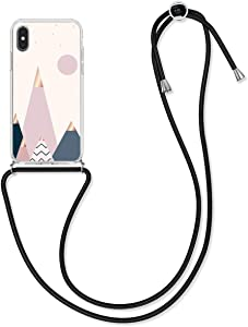 kwmobile Crossbody Case Compatible with Apple iPhone X - TPU Silicone Cover IMD Design with Neck Cord Lanyard Strap - Moon and Mountains Rose Gold/Blue/Light Pink