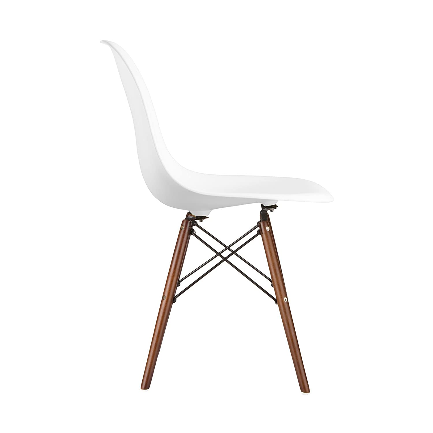 Amazon.com: Poly And Bark Eames Style Molded Plastic Dowel Leg Side Chair,  White, Set Of 2: Kitchen U0026 Dining