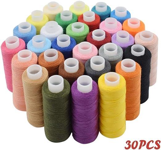 juego de 30 hilo de coser kit de hilo de poliéster multiusos, 250 ...