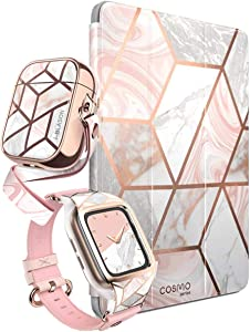 i-Blason Cosmo Pink Accessory Bundle - AirPods, iPad 9.7 (2018) & Apple Watch 3 38mm Case