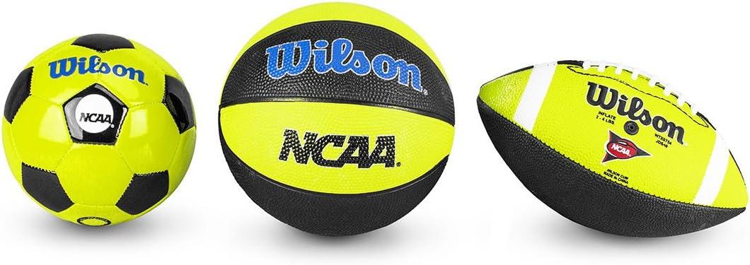 Wilson WTX0754ID Pack Triple Threat de Baloncesto fútbol Americano, Unisex niños, Amarillo/Negro, Mini: Amazon.es: Deportes y aire libre