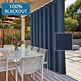Cheap Extra Long and Wide Outdoor 100% Blackout Curtains Rich Textured Linen Waterproof Patio Door Panel Anti Rust Grommet Home Fashion Window Panel Drapes for Bedroom/ Living Room – Navy- 100 x 84 Inch