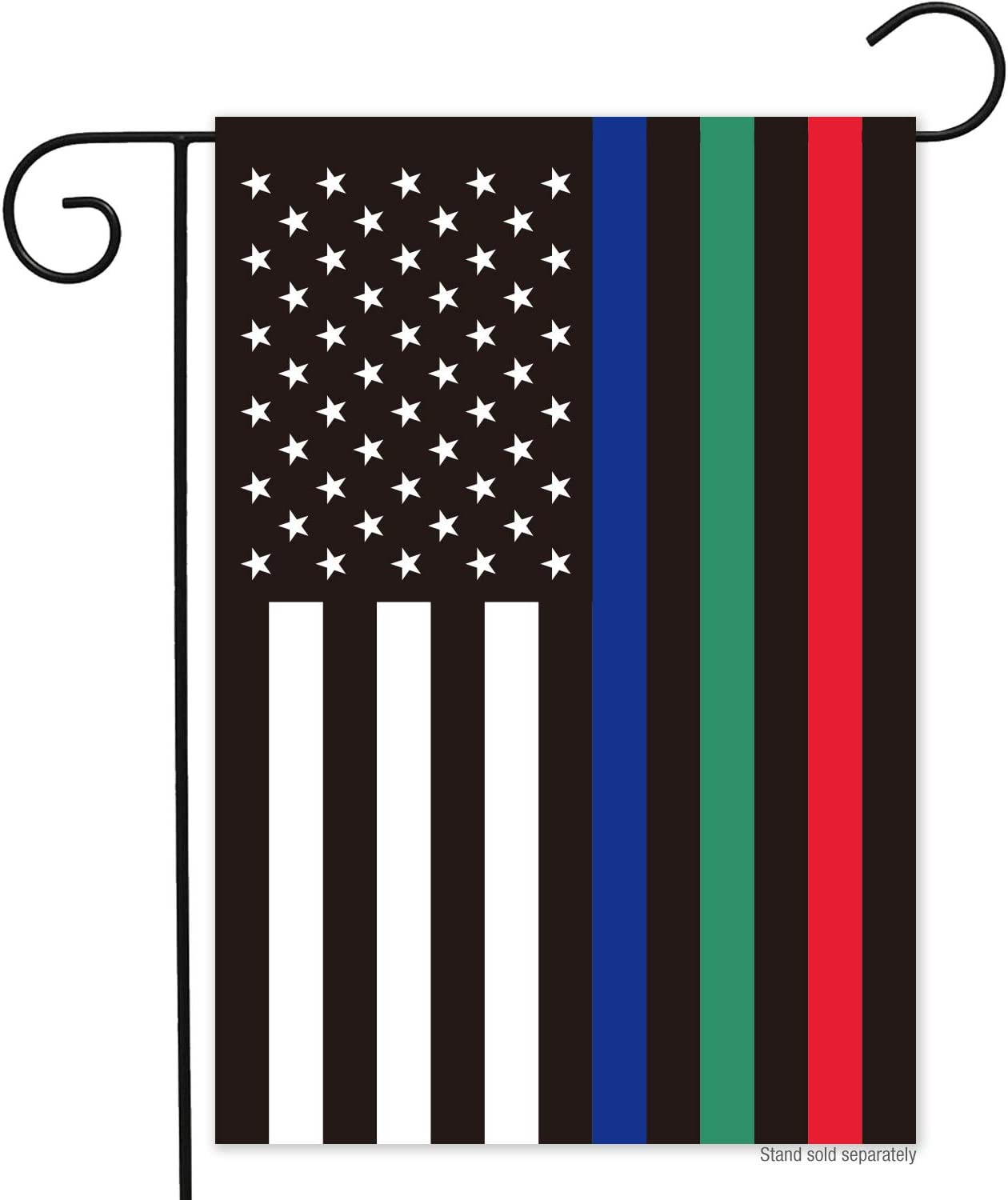 N/P Thin Red Blue Green Line American Garden Flag- Double Sided Police Military and Fire Firefighter Thin Line USA Yard Flags Banner UV Fade Resistant Honoring Law Enforcement Officers 12.5 x 18 Inch
