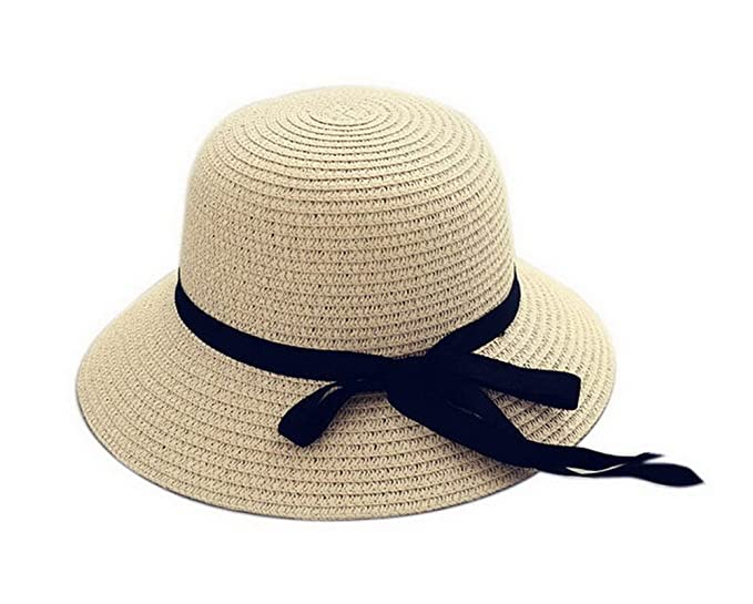 a525542fa6af49 Image Unavailable. Image not available for. Color: Girls Toddler Straw  Summer Sun Beach Hats Kids Bowknot Broad-Brimmed Hat Beige