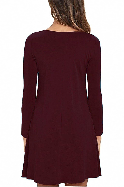 2e506a5c36a6 Unbranded  Women s Long Sleeve Pocket Casual Loose T-Shirt Dress