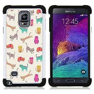 For Samsung Galaxy Note 4 SM-N910 N910 - pattern teal kitten drawing beige Dual Layer caso de Shell HUELGA Impacto pata de cabra con im??genes gr??ficas Steam - Funny Shop -