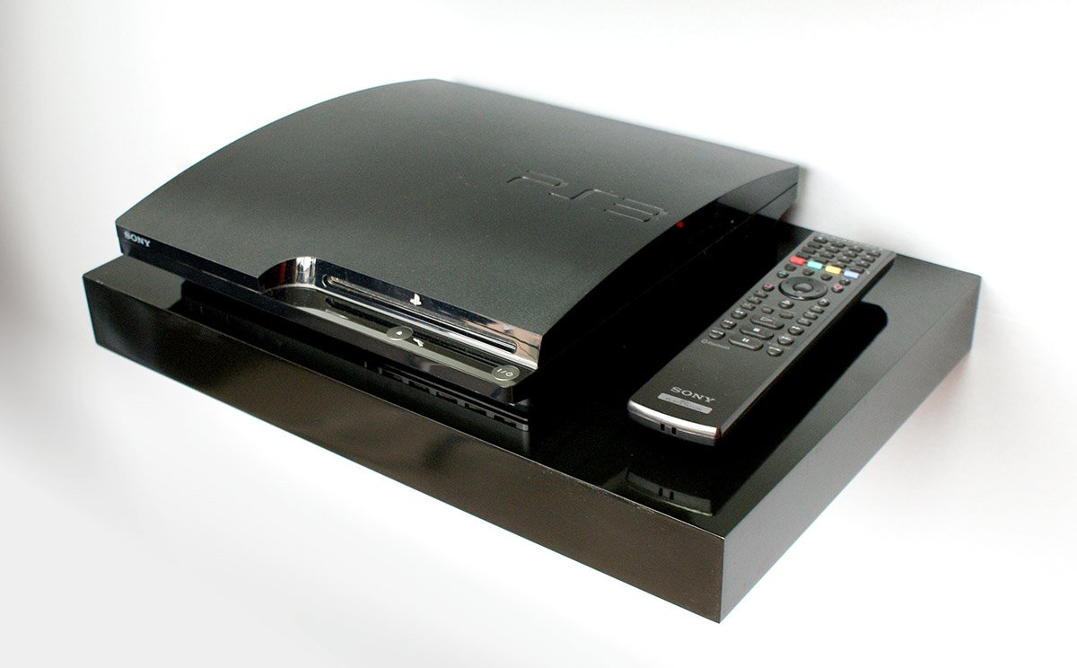gloss black media floating shelf kit 450x300x50mm