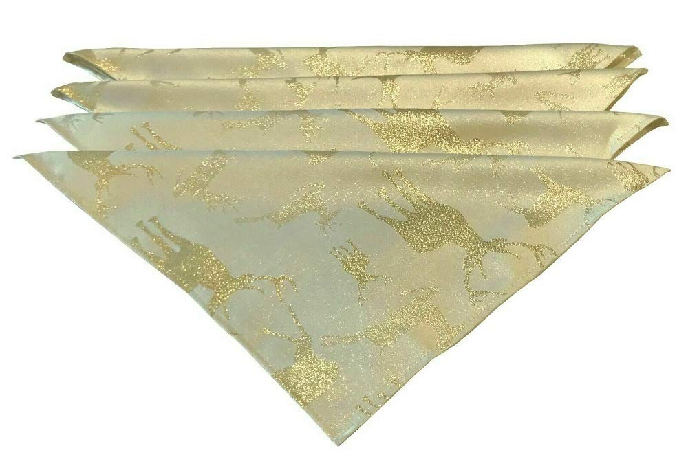 4 Pack Size 17 x 17 Harwoods Stag Napkins Cream Gold
