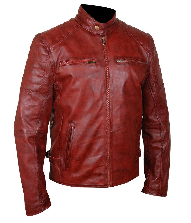 F&H Men's Genuine Sheepskin Waxed Leather Caf茅 Racer Jacket