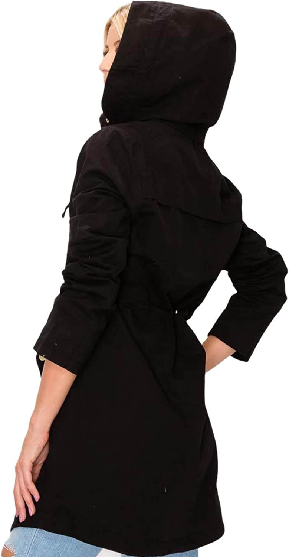 Womens Zip Up Safari Military Anorak Hoodie Drawstring Jacket