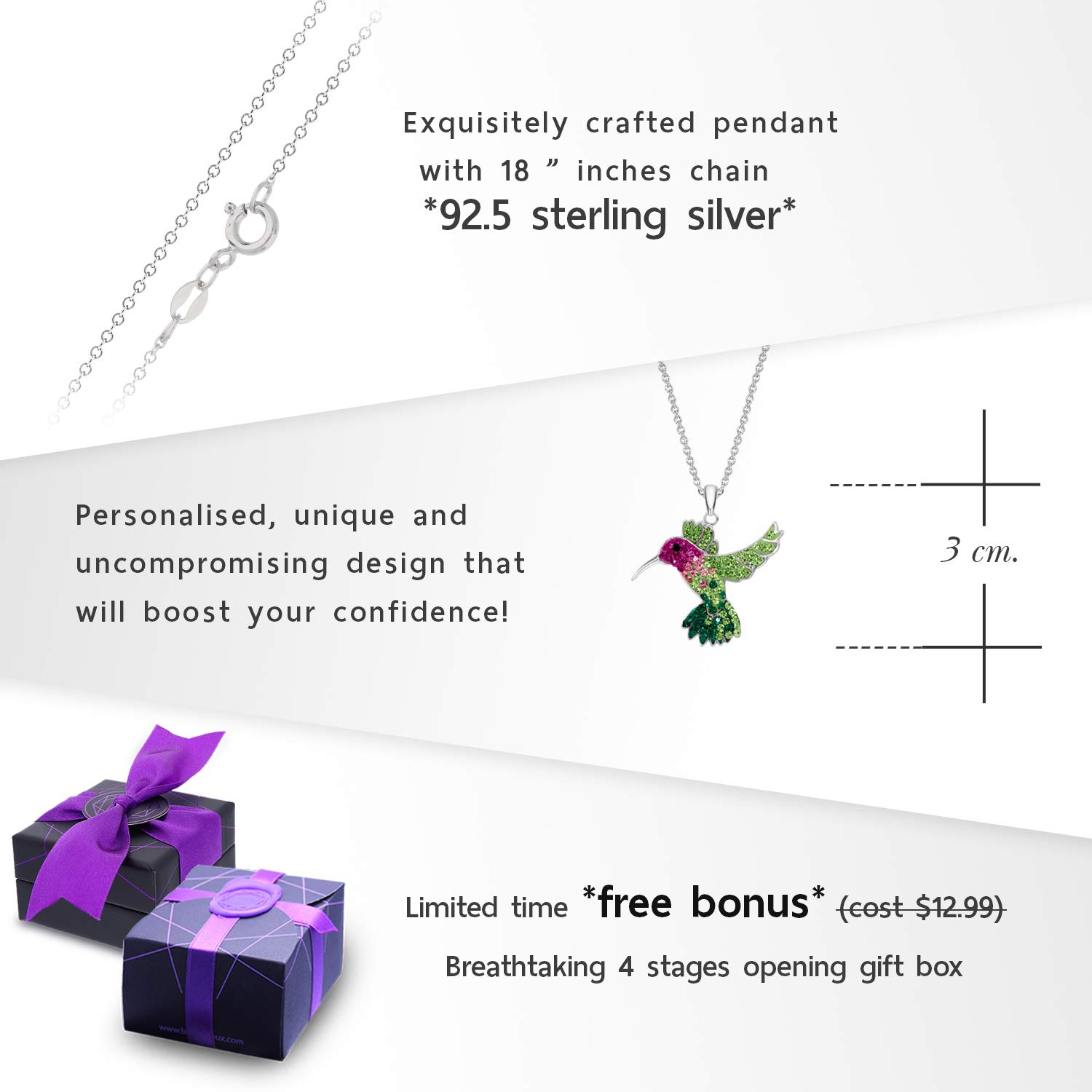 Colorful Flying Hummingbird Crystal Pendant Necklace Never Rust 925 Sterling Silver for Women, Girls & Teens, Natural & Hypoallergenic Chain with Free Breathtaking Gift Box for Special Moments of Love by BLING BIJOUX Jewelry (Image #4)