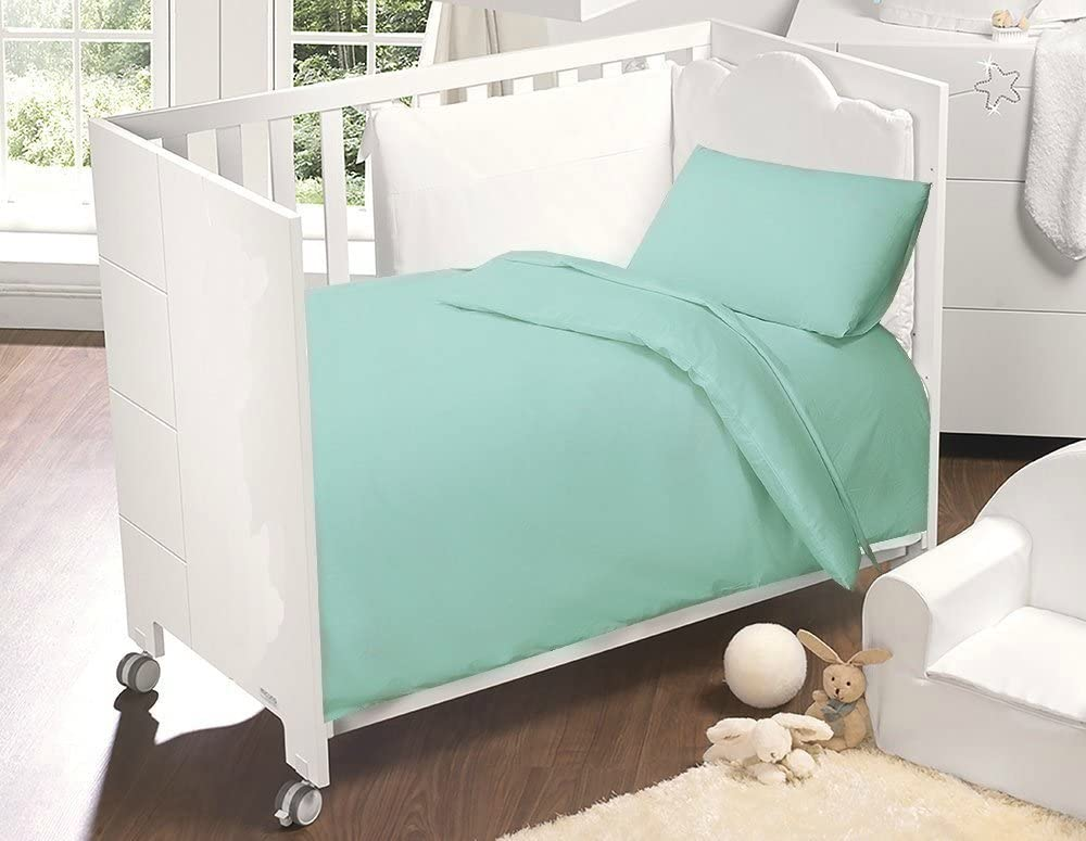Love2Sleep 100/% Egyptian Cotton COT Bed Duvet Cover 120 X 150 cm /& Pillowcase Set Duck Egg Blue