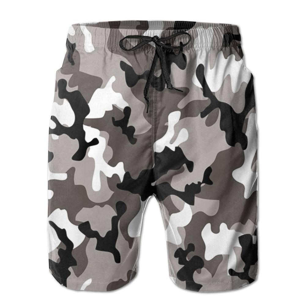 EYBFHUO Swim Trunk Relaxed Male Gray Camouflage Beach Shorts Swimwear.