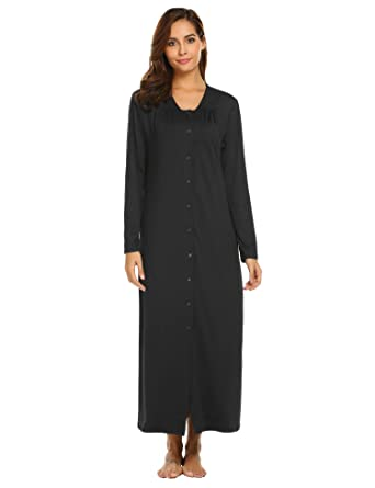 Ekouaer Long Sleeve Nightgown Button Front Loungewear Plus Size