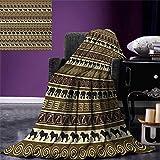 Safari Throw Blanket African Style Geometrical Pattern Wild Animals in Horizontal Line Art Warm Microfiber All Season Blanket Bed Couch 50''x30'' Black Brown