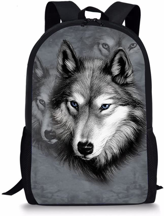 Showudesigns Boys Husky Backpack for School Elementary Student Bookbag White Zoo Dog Kids Schoolbag Heavy Duty Bakc to School Bag Pack