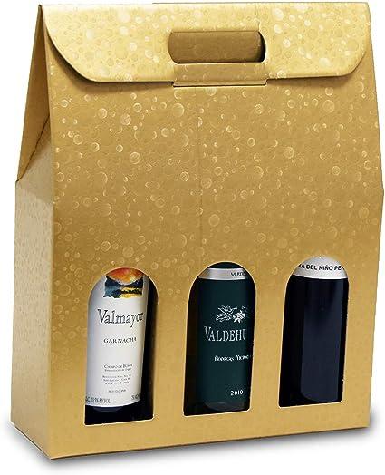 1 Caja de 20 Bolsas de cartón para Botellas (Oro, 30x10x38,5 cm.): Amazon.es: Oficina y papelería
