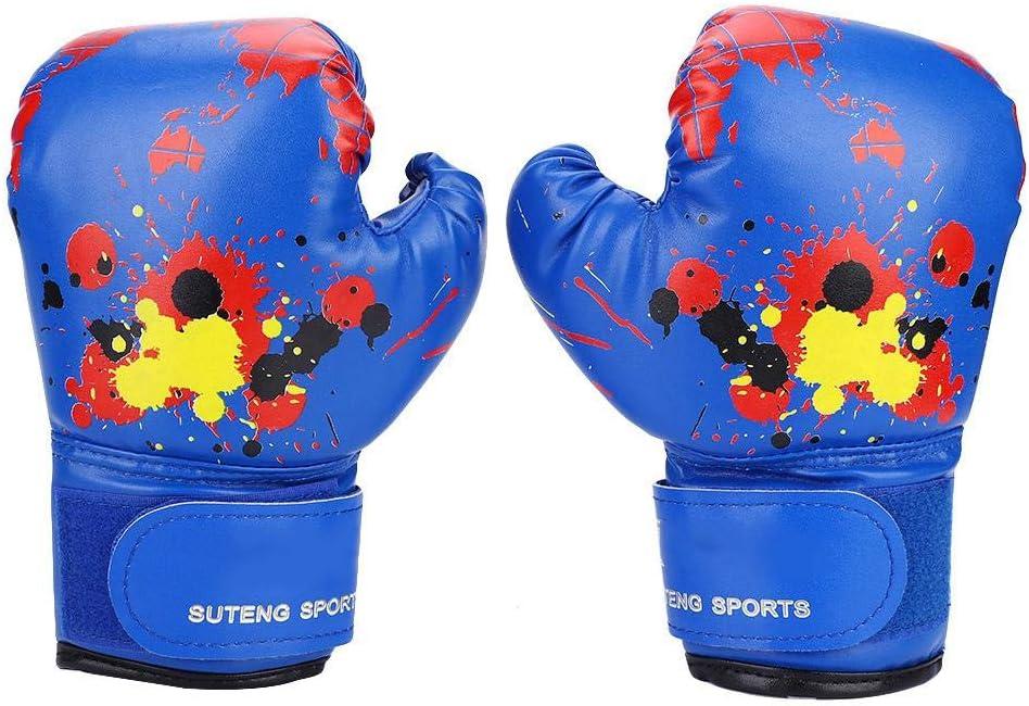 Wbestexercises キッズボクシンググローブ PUレザー 子供用 MMA スパーリング Dajn トレーニンググローブ パンチトレーニング ファイトミット 2歳から11歳 ブルー