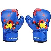 1 par de Guantes de Boxeo para niños Perforación Lucha contra el Entrenamiento Guantes de Sparring para los niños niñas de 2-11 años (Azul, Rosa, Amarillo Opcional)