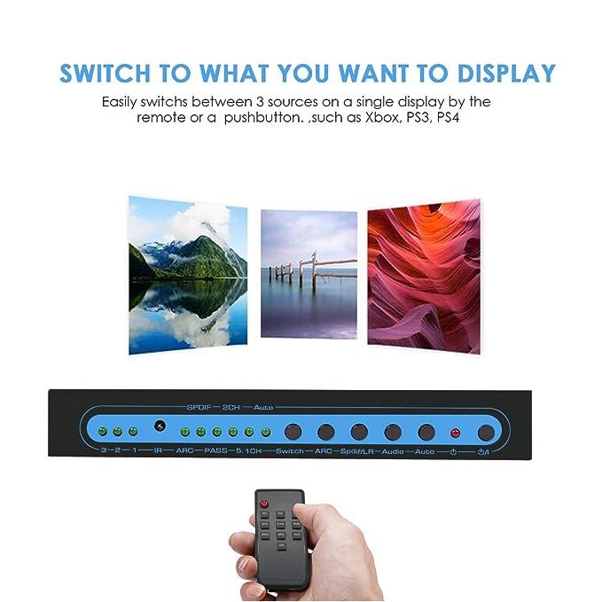 4K@30Hz HDMI conmutador con exportador SPDIF & RCA L/R con audio, FiveHome (marca) 3 entra y 1 sale distribuidor con control remoto separado de audio, ...
