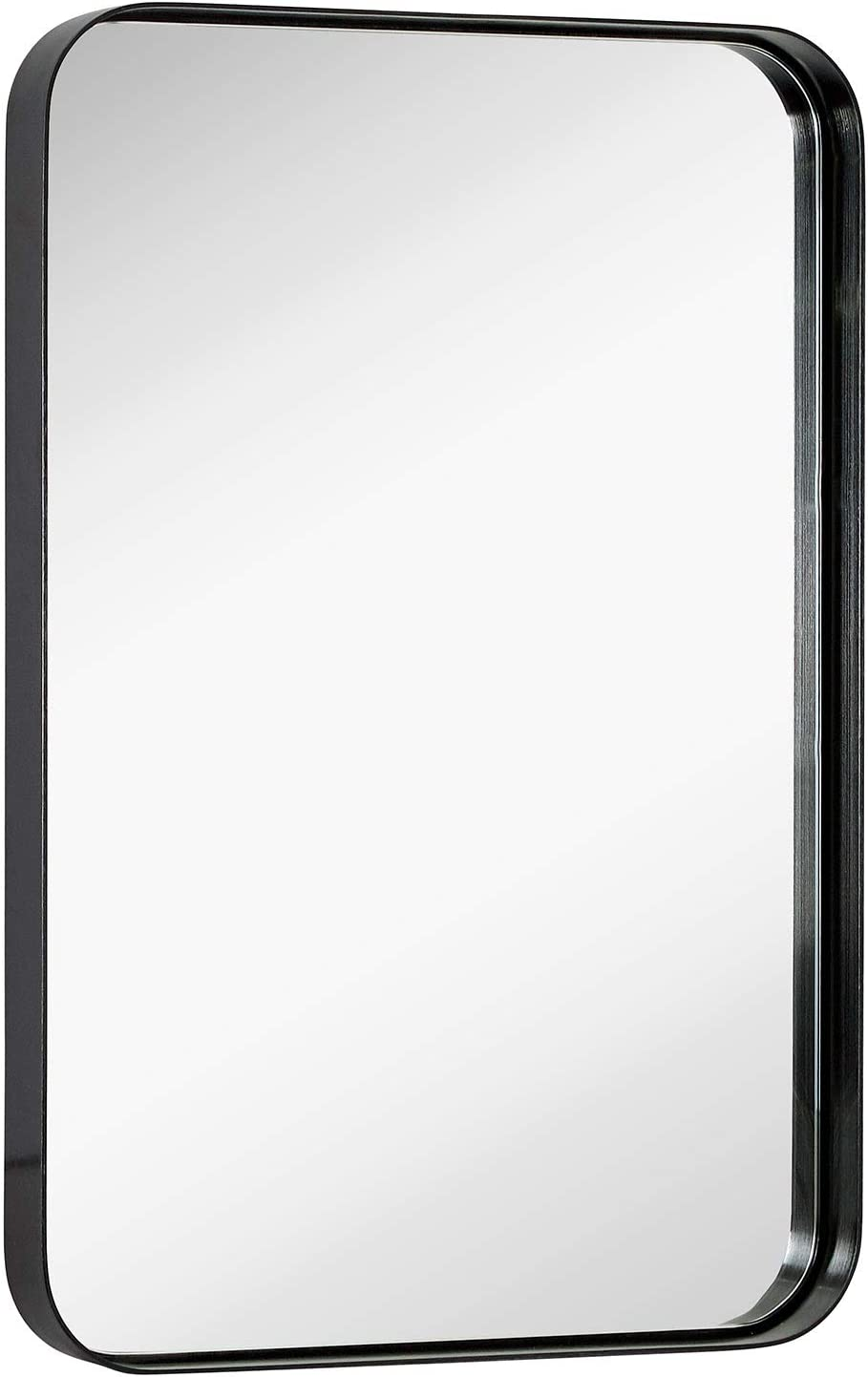 "Hamilton Hills Contemporary Brushed Metal Wall Mirror | Glass Panel Black Framed Rounded Corner Deep Set Design | Mirrored Rectangle Hangs Horizontal or Vertical (16"" x 24"")"