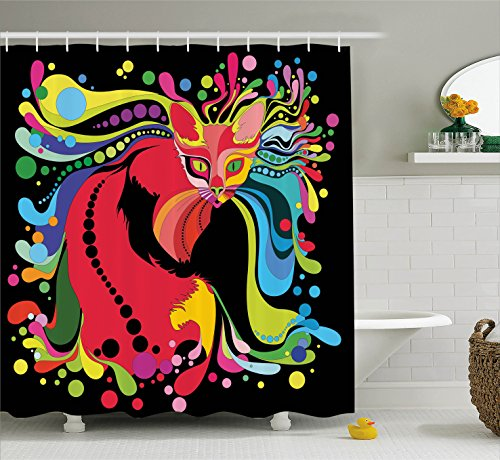 Ambesonne Psychedelic Decor Shower Curtain Set By, Futuristic