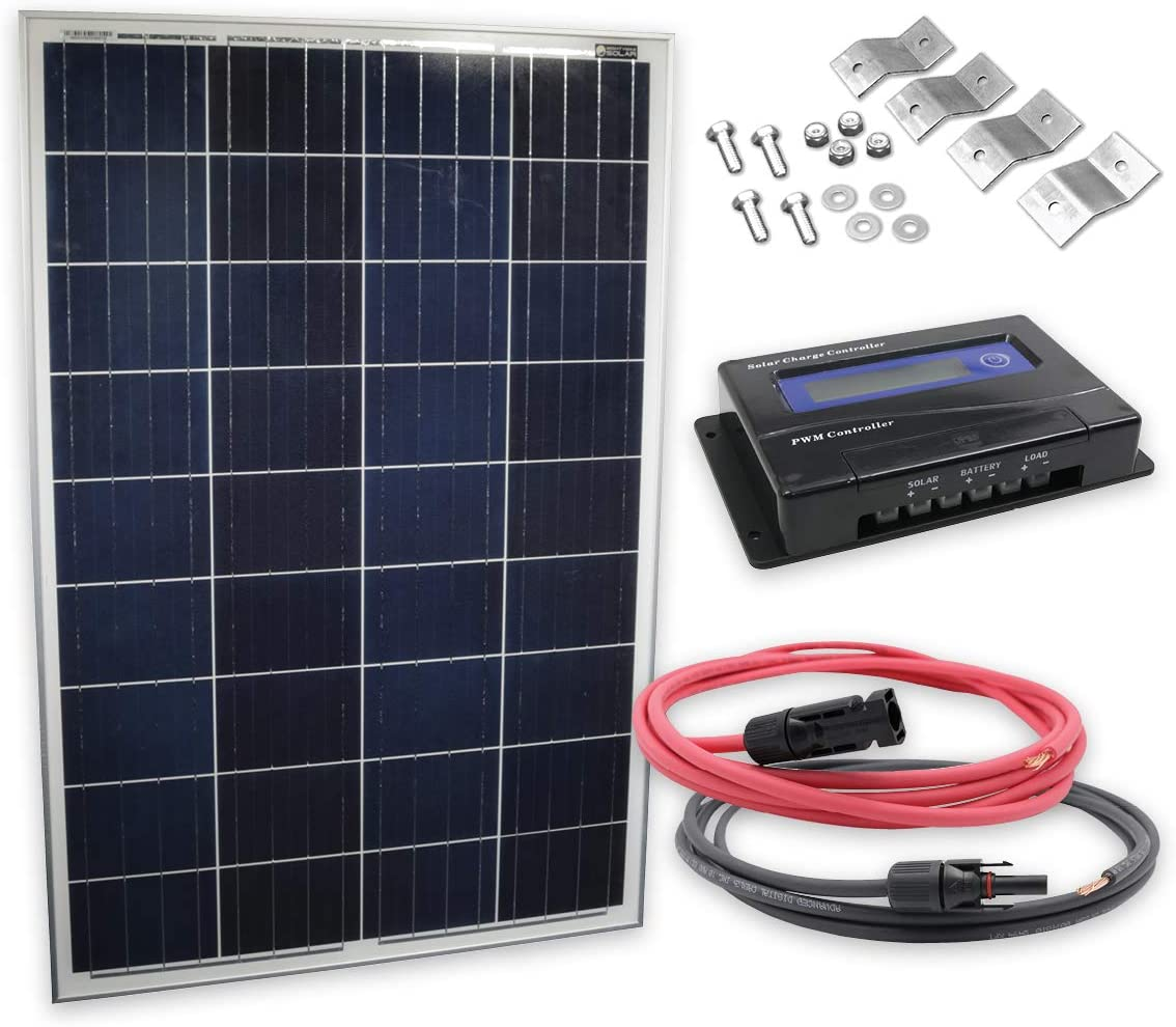 100 Watt Solar Panel Kit with PWM Charge Controller 615XLJAu7ULSL1200_