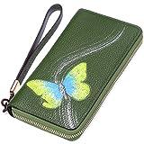 PIJUSHI Designer Floral Wallet Women's Genuine Leather Clutch Wristlet Wallet (1058-Green)