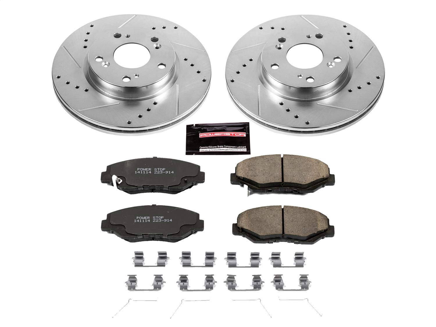 Power Stop K6490 Front Z23 Evolution Brake Kit with Drilled//Slotted Rotors and Ceramic Brake Pads