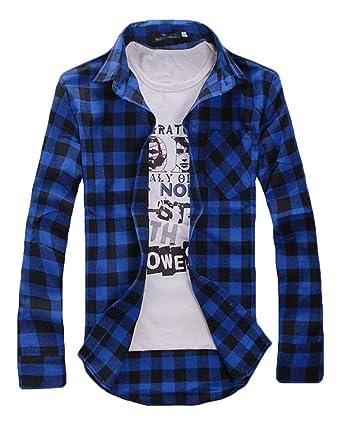 UUYUK Men Long Sleeve Plaid Print Slim Fit Button Front Casual Shirts