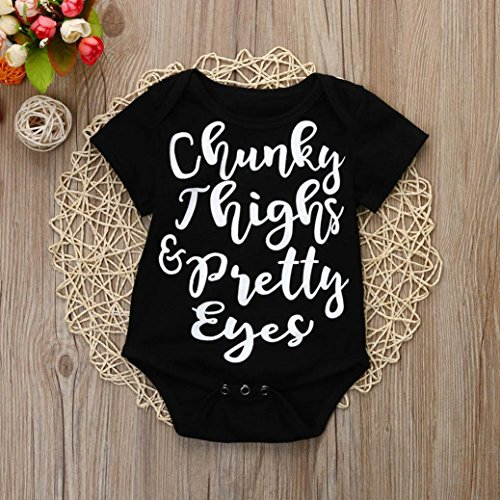 Goodlock Newborn Infant Fashion Romper Baby Boy Girl Short Sleeve Letter Romper Jumpsuit Outfits Clothes